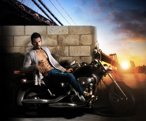 Sexy man on motorcycle