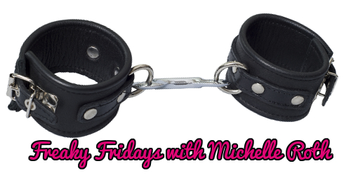 Strict Black Leather Locking Hand Cuffs on white background