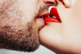 Man and woman lips wants to kiss