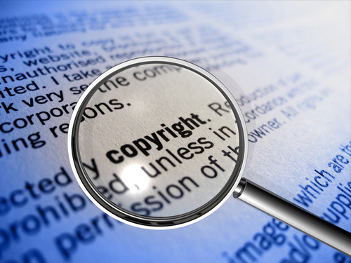copyright with magnifier