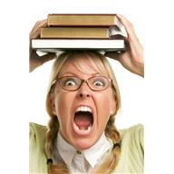 A screaming woman and books