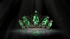Forest Tiara A fairy tale forest inspired tiara, set with large sparkling green jewels.