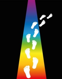 Footprint on a rainbow colored trail is leaving into darkness. Vector illustration.