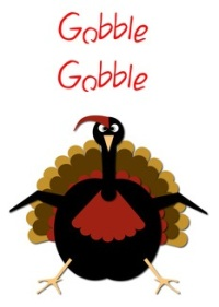 Goofy Turkey saying the words, Gobble,Gobble