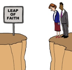 Business cartoon showing two businesspeople looking down from a cliff. On the other cliff is a sign that reads, 'leap of faith'.