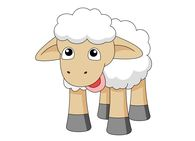 shy looking sheep with white wool clipart